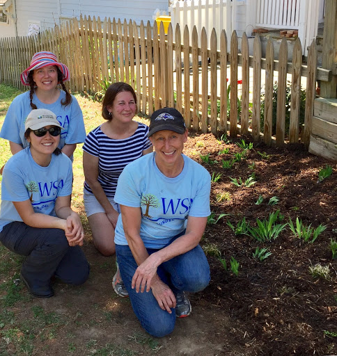 April planting day at Lynne Seach's home Front: Noelle and Cindy Back: Zoe Clarkwest, WSA's Restoration Coordinator who designed the rainscaping projects in Pines, and Lynne Seach.