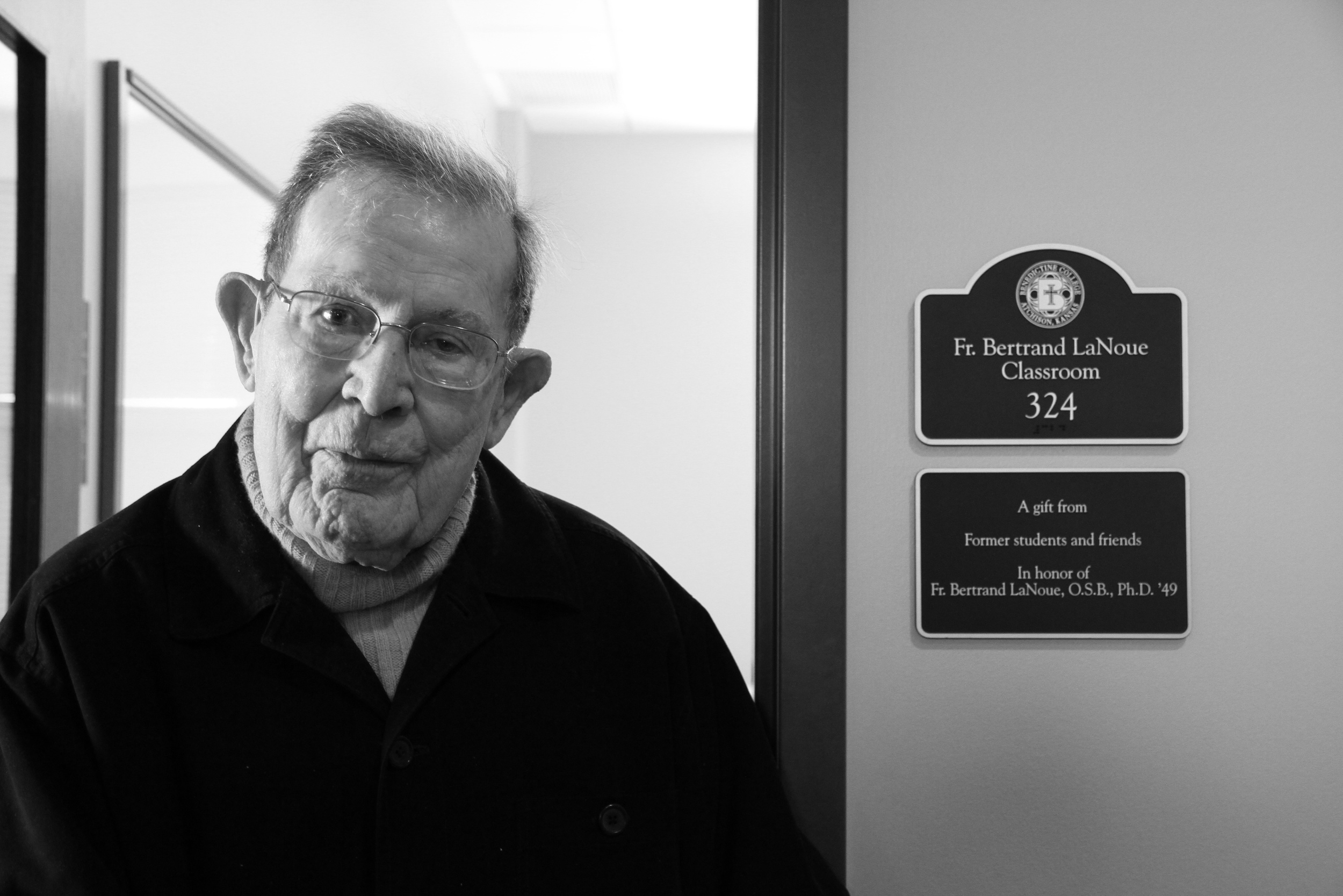 Fr. Bertrand service to St. Benedict's and Benedictine College was celebrated in 2012 with the naming of a classroom in his honor.