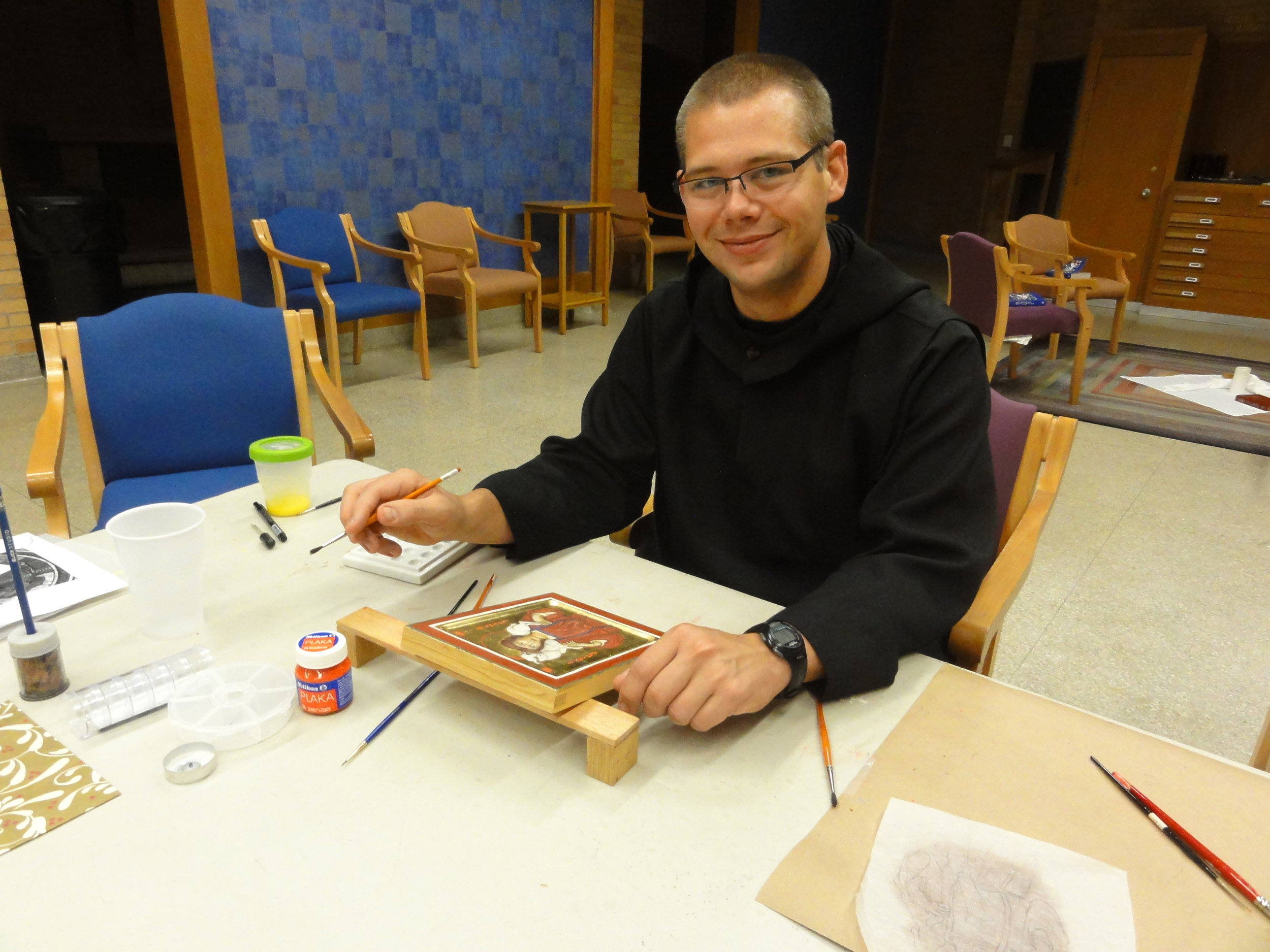 Br. Karel Soukup with the icon he wrote during the retreat