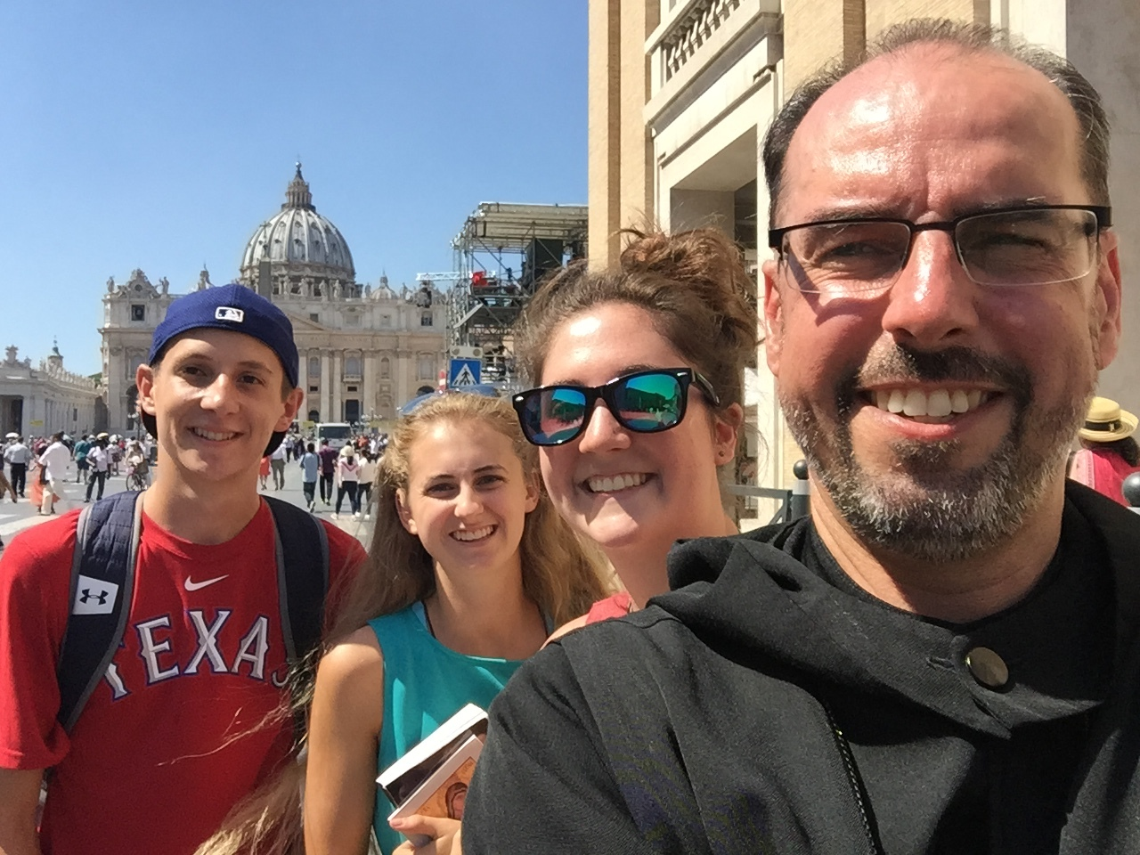 Abbot james with benedictine college students in rome