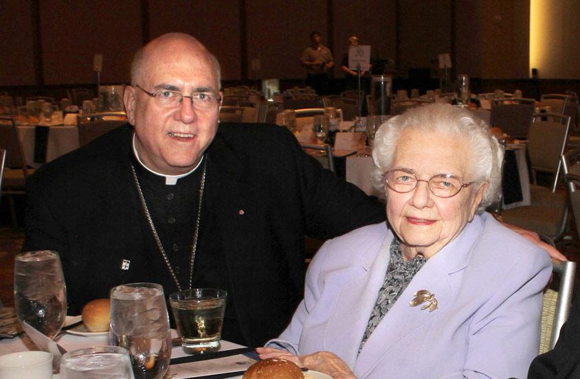 Archbishop Joseph F. Naumann & His Mother Louise, 2018 Lumen Vitae Medal Recipients