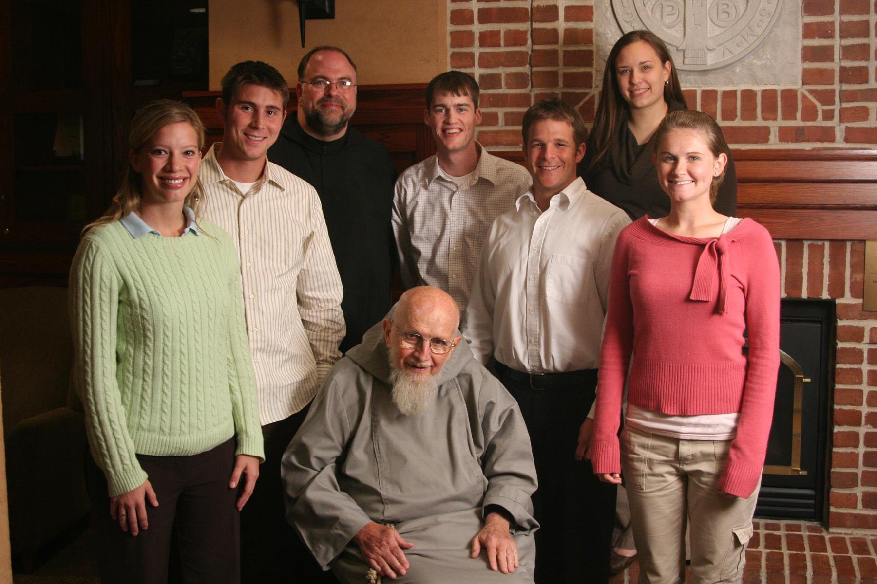 Fr. Meinrad and Benedictine College students with Fr. Benedict Groeschel, CFR