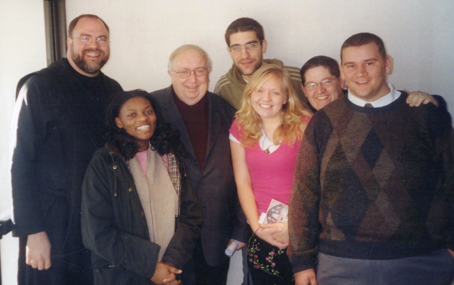 Fr. Meinrad and Benedictine College students with Msgr. Lorenzo Albacete