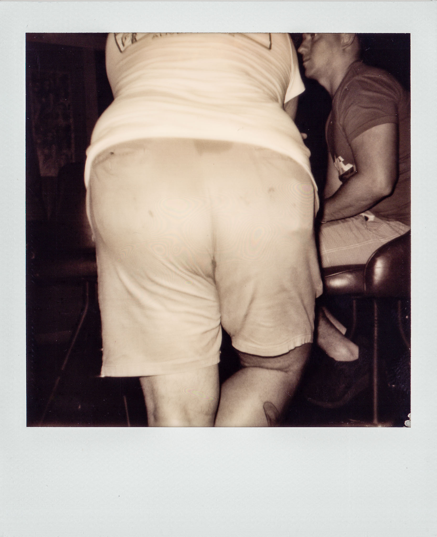 Jordan Eichenblatt's butt at Wallys Mills Avenue Liquors opening party