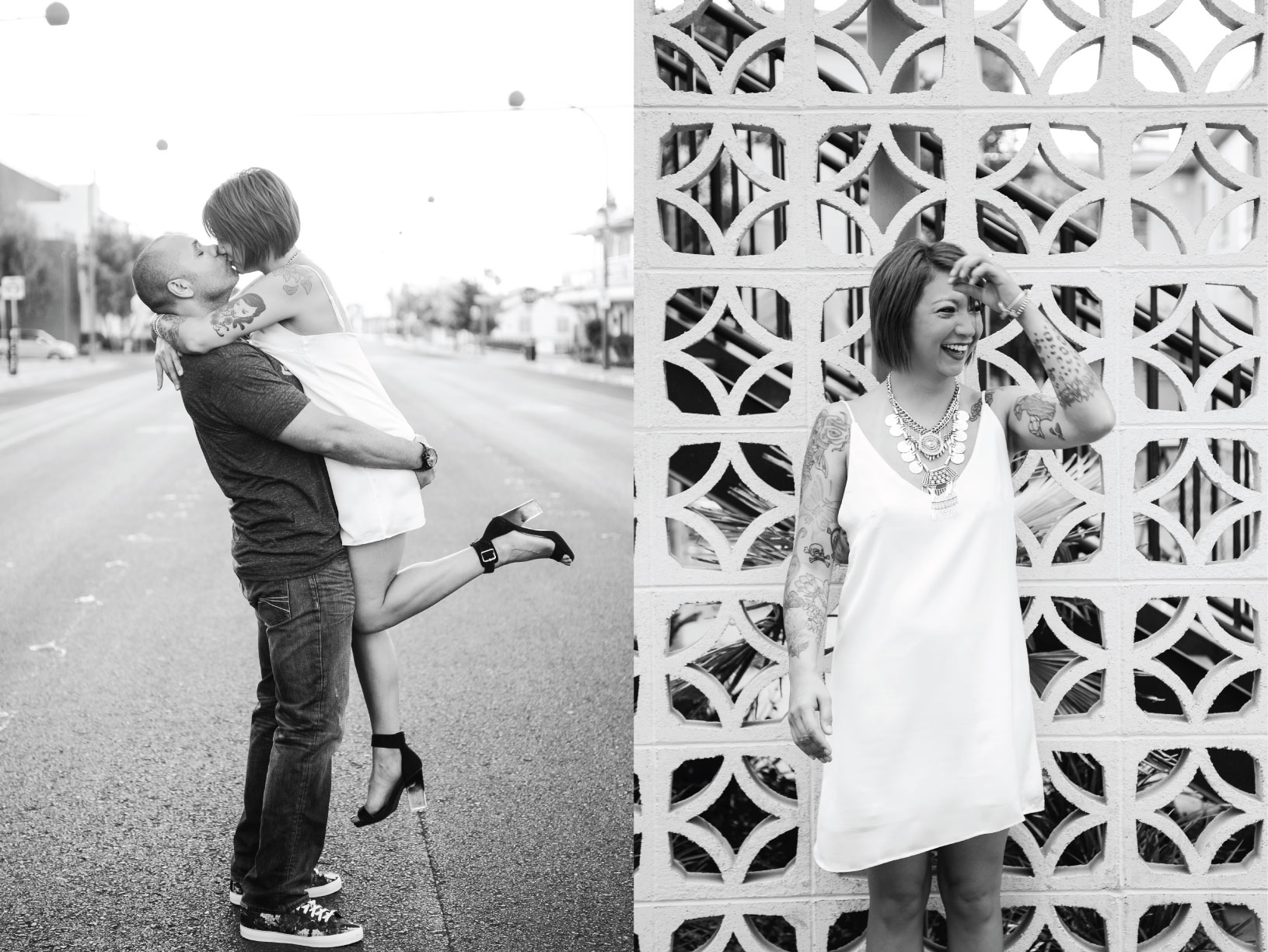 downtown engagement, rock'n roll bride, engagement session, photo shoot engagement, rock'n engagement, fun engagement session,