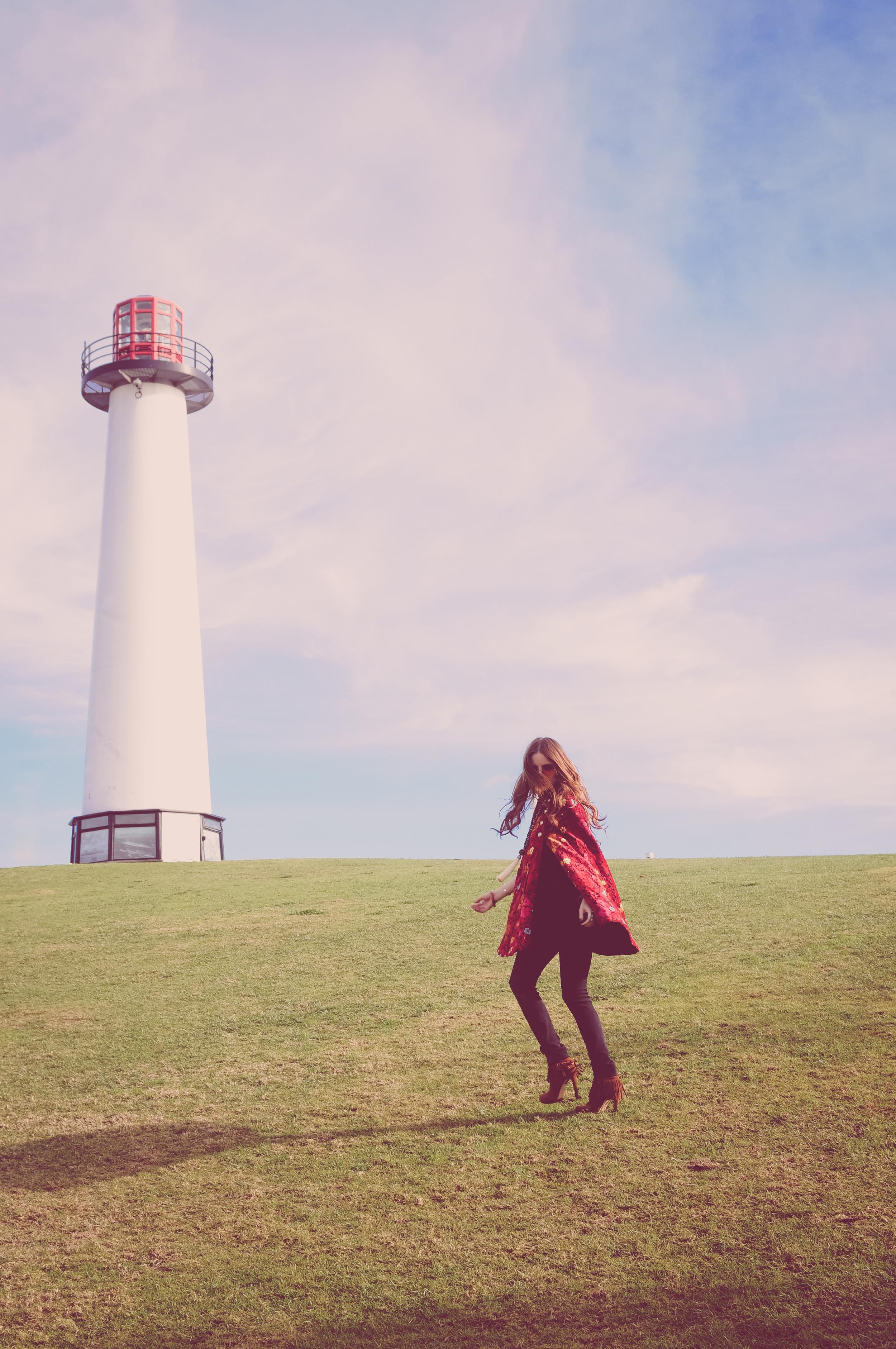 long beach editorial photographer, long beach lighthouse, boho bunnie, ashley marie myers, janis joplin inspired