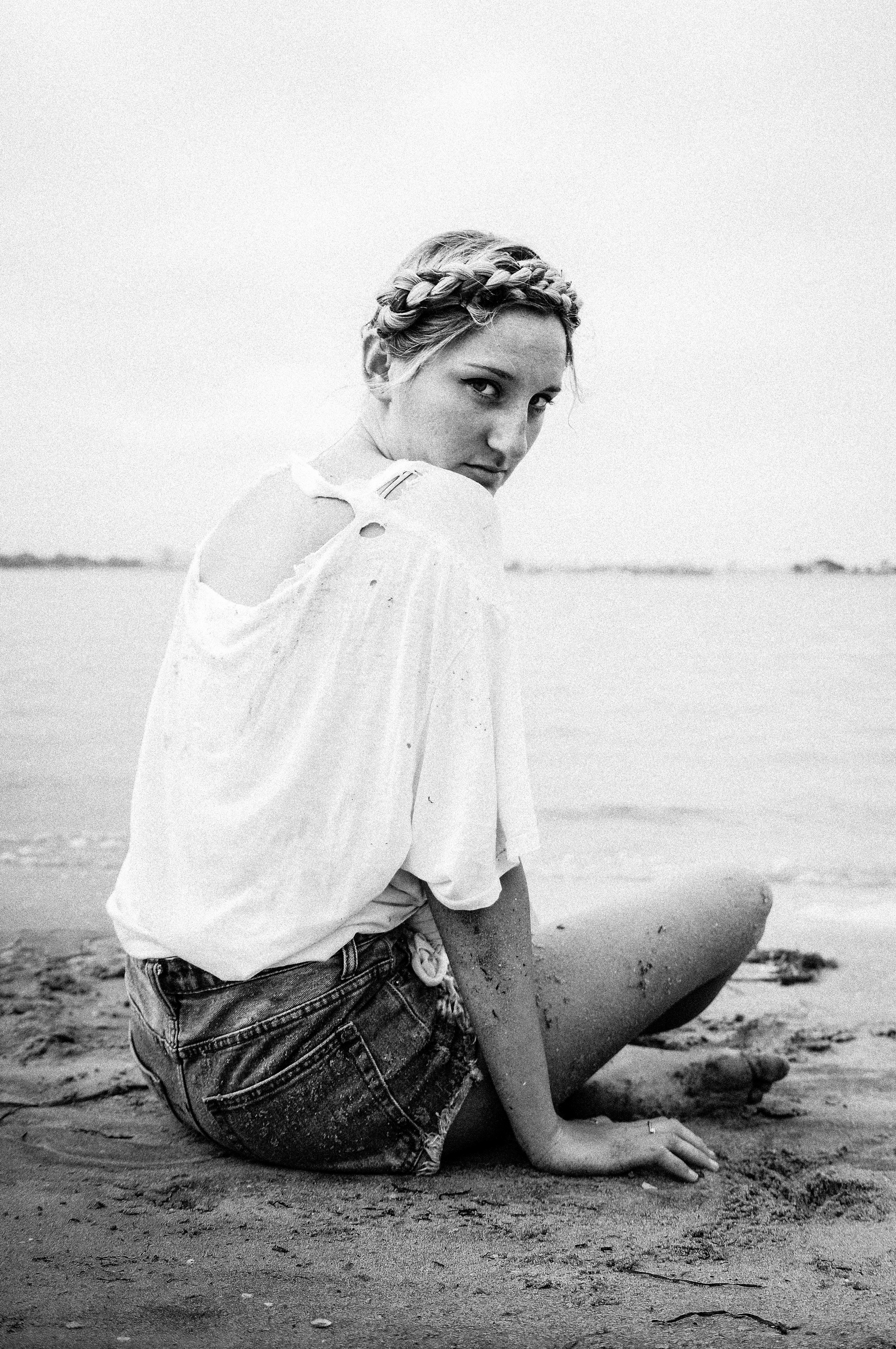 awakening mother earth, ashley marie myers, black and white portrait