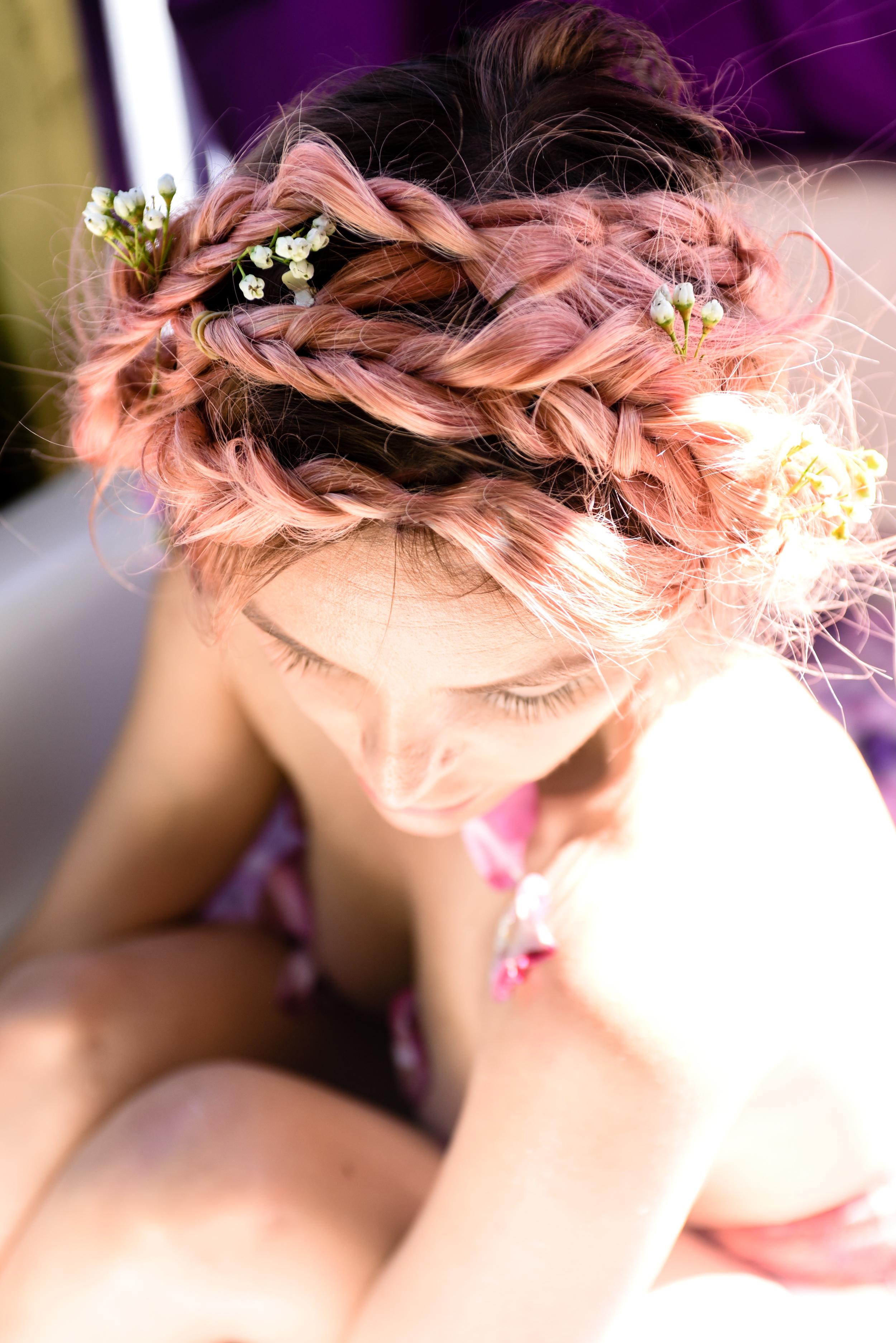 rose bath, milk bath, flores lane candles, boho bunnie, joshua tree, rose petal bath, milky bath shoot, pink hair, overtone hair pink, pastel pink hair