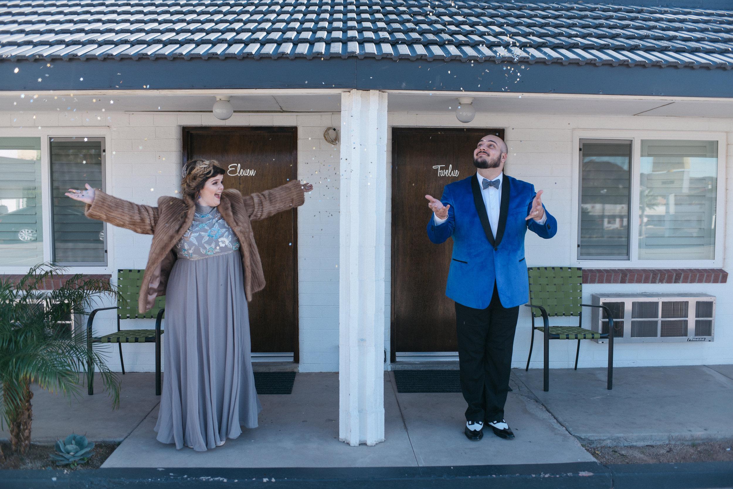 las vegas wedding, Elvis wedding, wedding las vegas, vintage wedding, vintage bride style, bridal style, fur wedding dress, vintage fur, desert wedding,