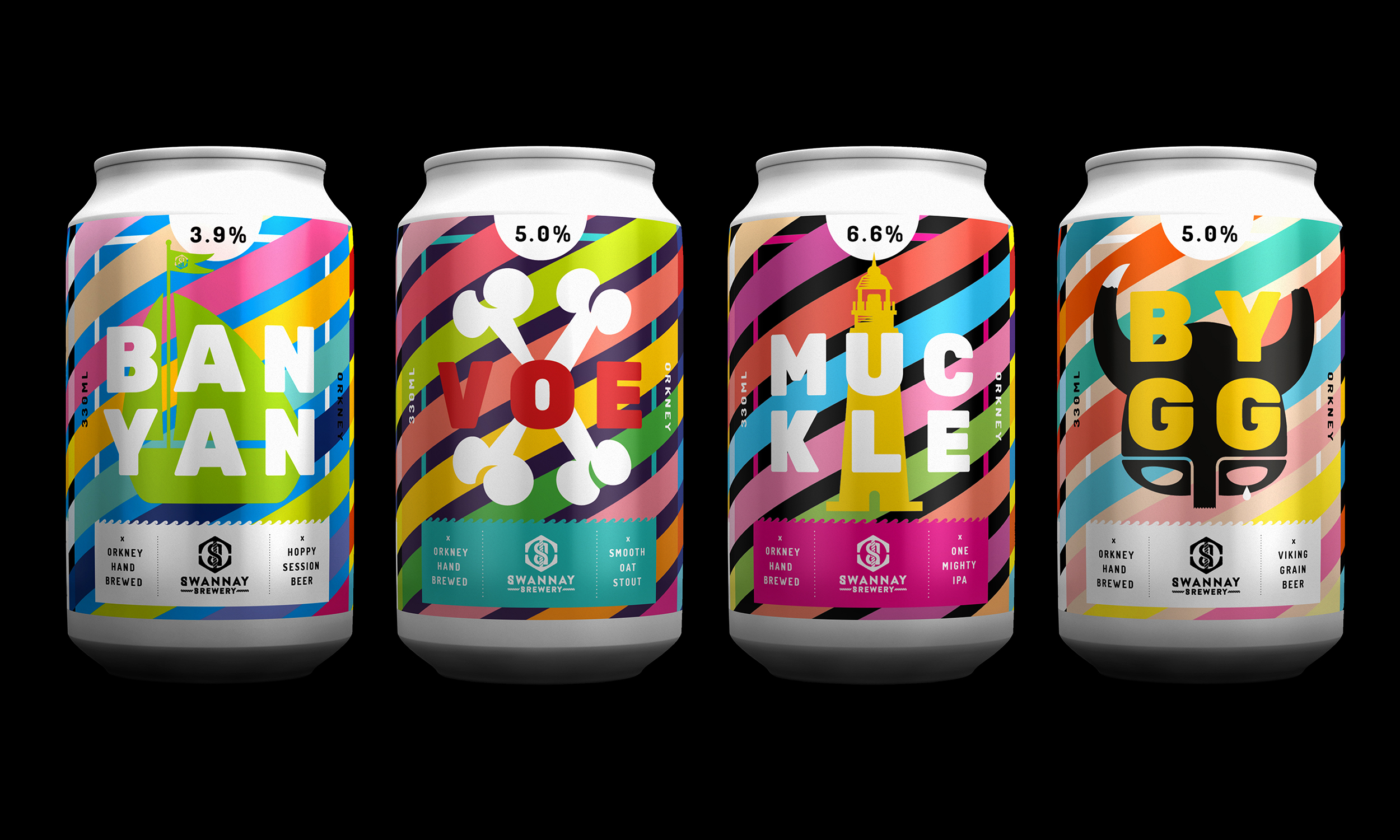 The full range, and below, keg labels and some supporting design work