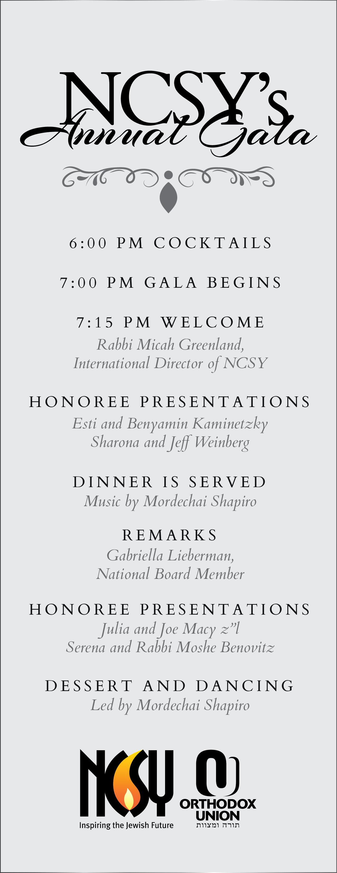 Annual Gala - Program, NCSY