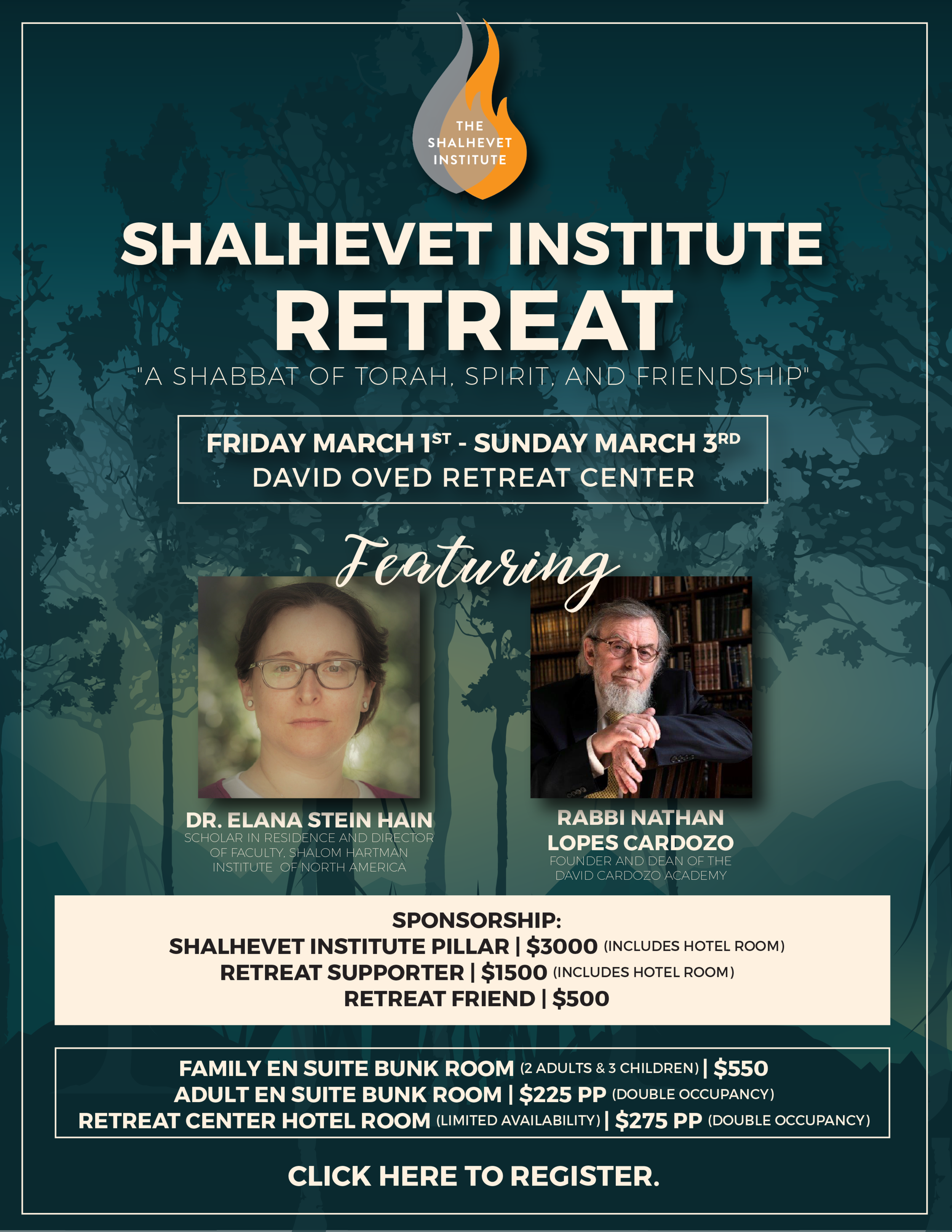 Retreat - Flyer, Shalhevet Institute