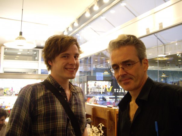 The young artist (left), patiently humored by demigod Eddie Campbell (right, in addition to being always correct)