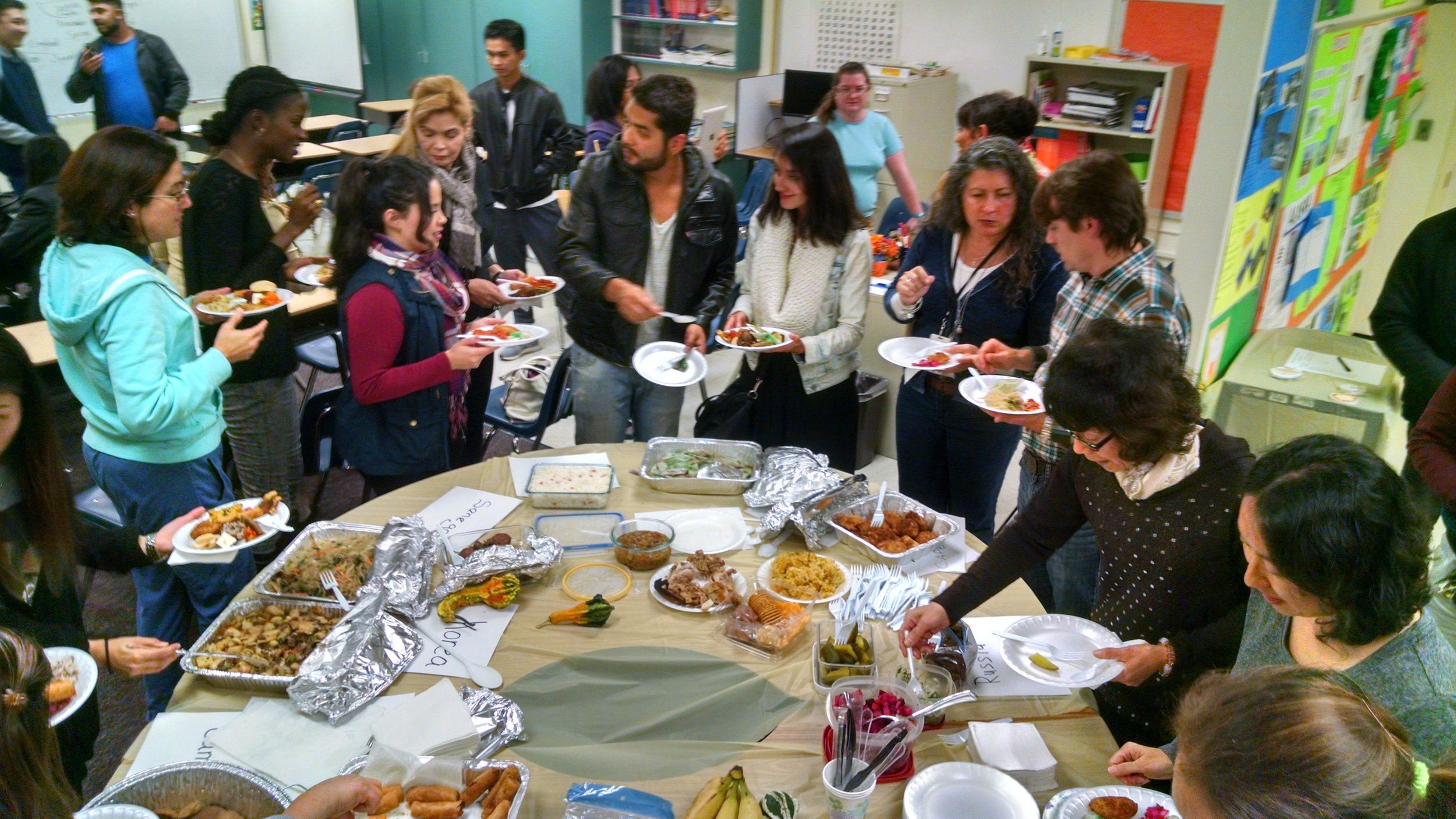 Pre-Thanksgiving Day feast! Students provided different foods from their home countries and presented information on the food's history.