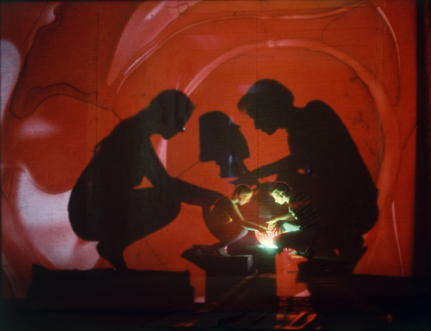 Artists Rudi Stern and Jackie Cassen operate a psychedelic slide show seminar using lights and gels at Millbrook in 1966. (Yale Joel/Life Picture Collection/Getty Images)