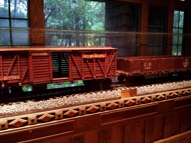 Walt Disney trains on display at Disney's Wilderness Lodge Resort