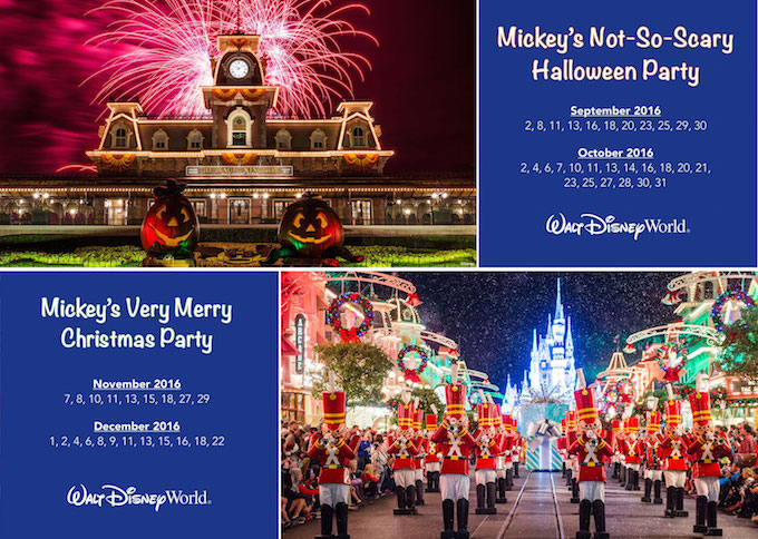 Mickey's Not-So-Scary Halloween Party – Advance ticket prices starting at $72 for adults and $67 for children (3-9).  Mickey's Very Merry Christmas Party – Advance ticket prices starting at $86 for adults and $81 for children (3-9).