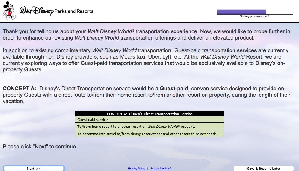 Walt Disney World Transportation Survey