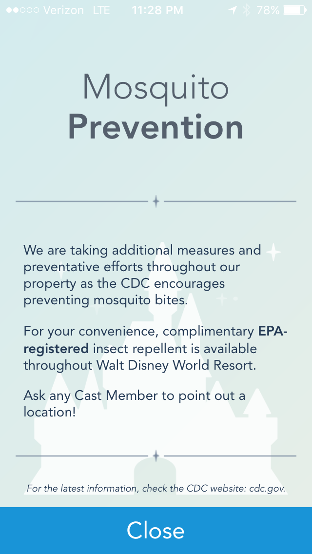 Mosquito Prevention at Walt Disney World
