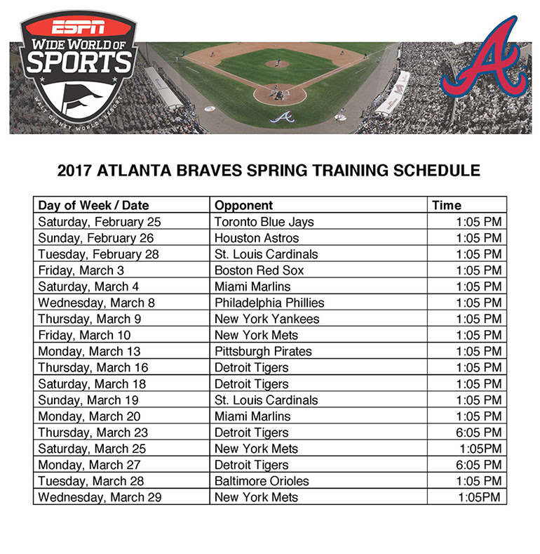 Atlanta Braves Training Schedule at Walt Disney World | ESPN Wide World of Sports