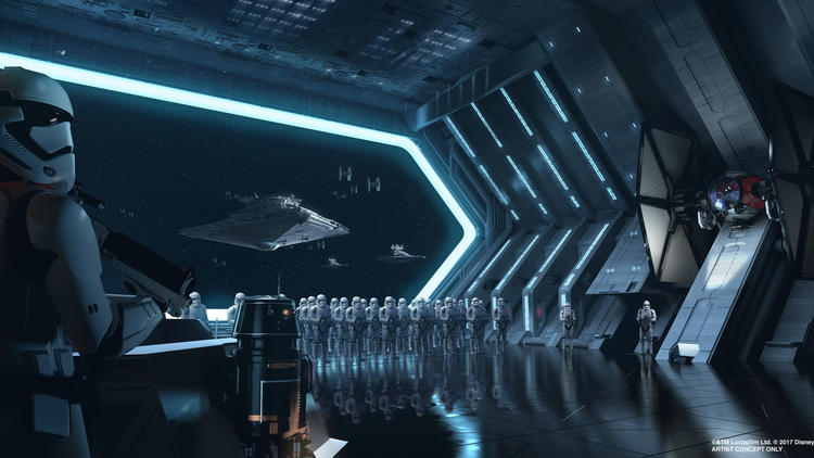 Galaxy's Edge will take visitors into a large-scale hangar of a Str Destroyer.
