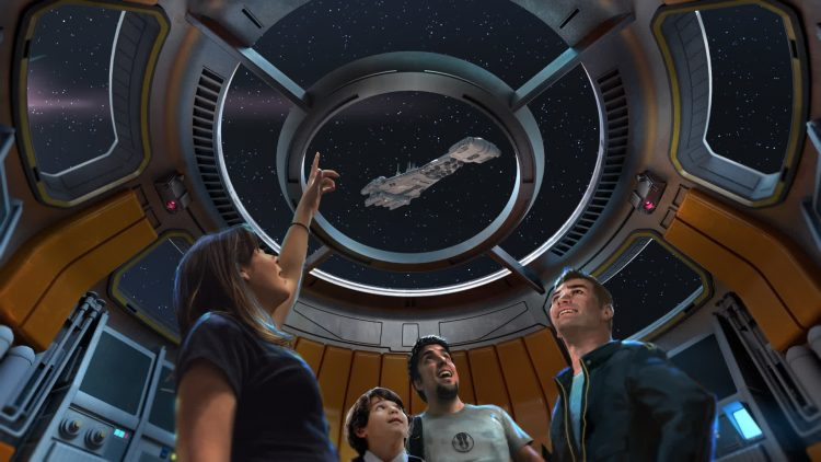 Families visiting the new Star Wars-inspired hotel coming to Walt Disney World Resort will board a starship alive with characters and stories that unfold during their voyage through the galaxy – and every window has a view of space.