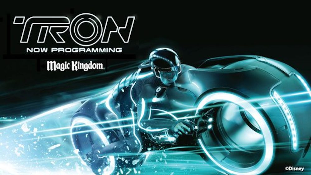 A Tron coaster billboard has been erected at Magic Kingdom Park