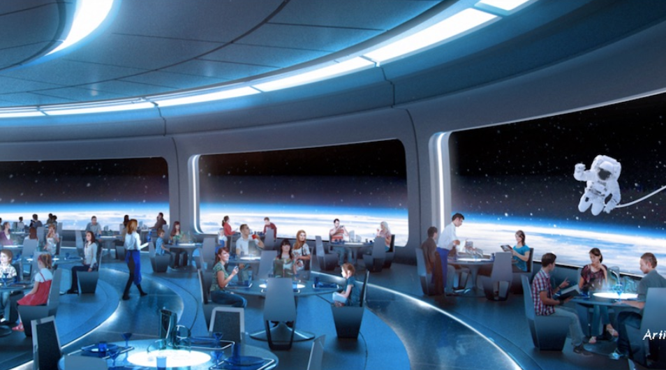 Space-themed table-service restaurant adjacent to Mission: SPACE