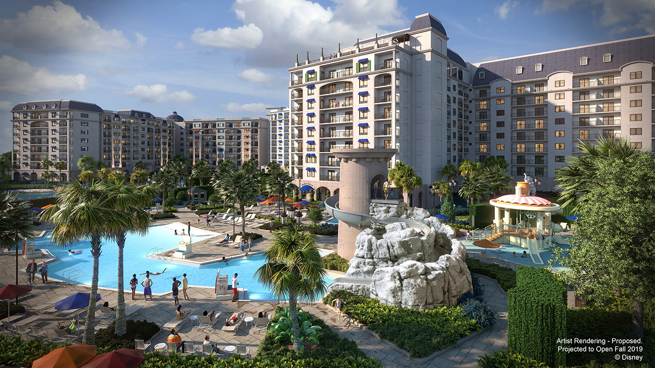 The image above showcases the hotel's feature pool, Riviera Pool, and S'il Vous Play, an interactive water play area.