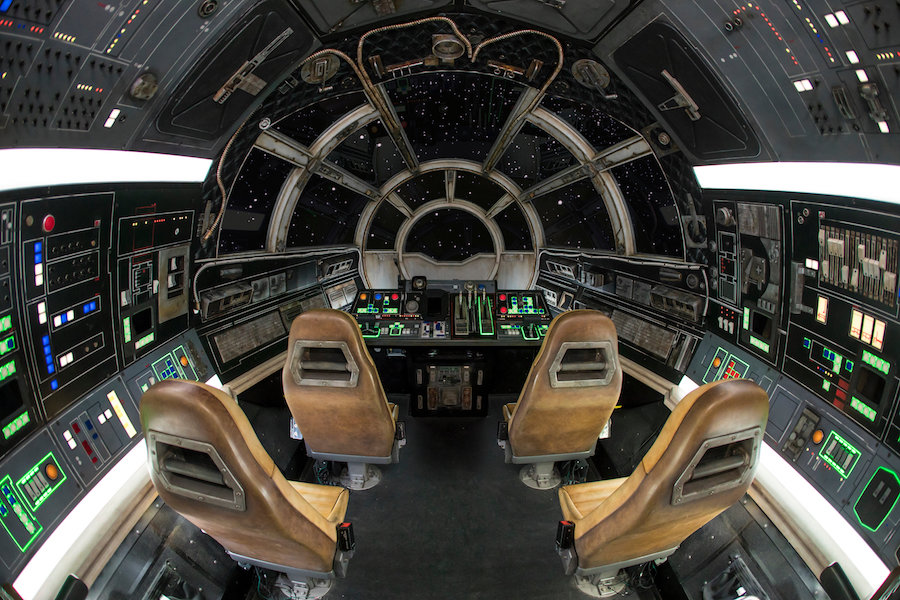 Taking Control of Millennium Falcon: Smugglers Run at Star Wars: Galaxy's Edge at Disneyland Park