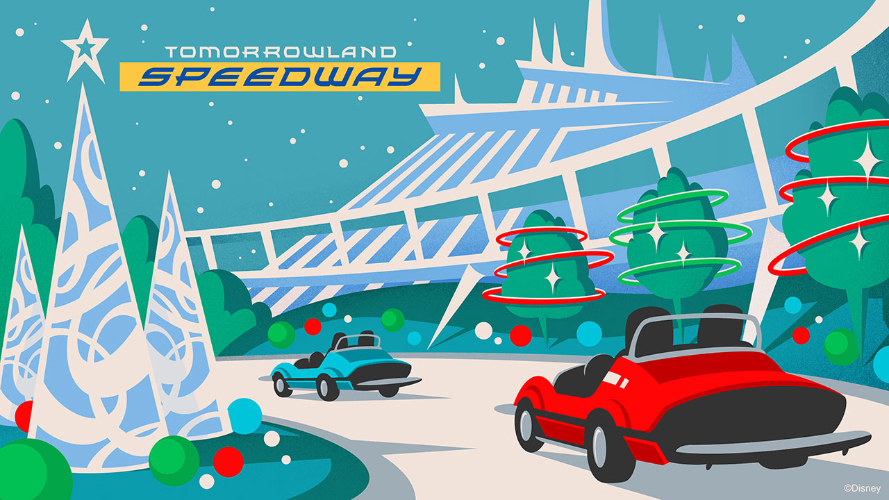 Tomorrowland Speedway at Magic Kingdom Park will get a holiday makeover.