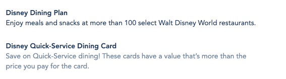 Quick Service Dining Card has been added to available Dining options on Walt Disney World Resort packages.