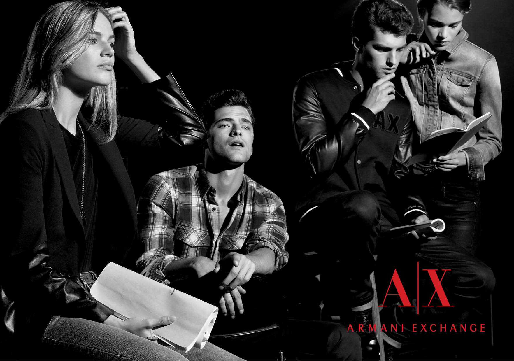 Armani Exchange Fall/ Holiday '13 Campaign  Developed font/ swatch/ logo treatments and cropping guidelines for all seasonal advertising pieces
