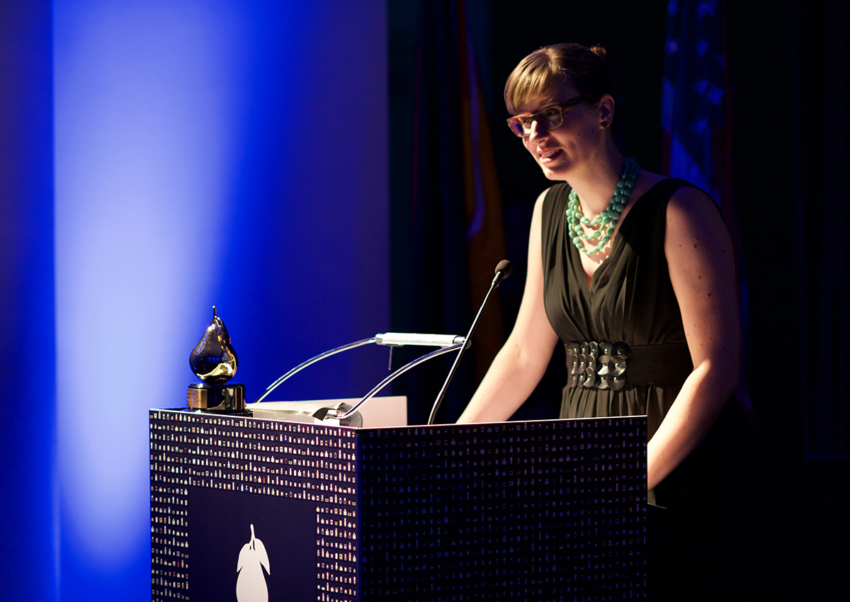 Jessica Hannah accepting the award for our collaboration. Photo by Steven Rimlinger.