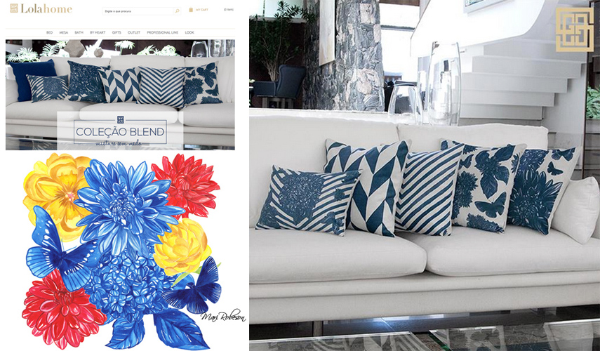 Lola Home  is a Brazilian Home Decor company I created several watercolors for that they then applied to table top and pillows. Also just a delight to work with!!