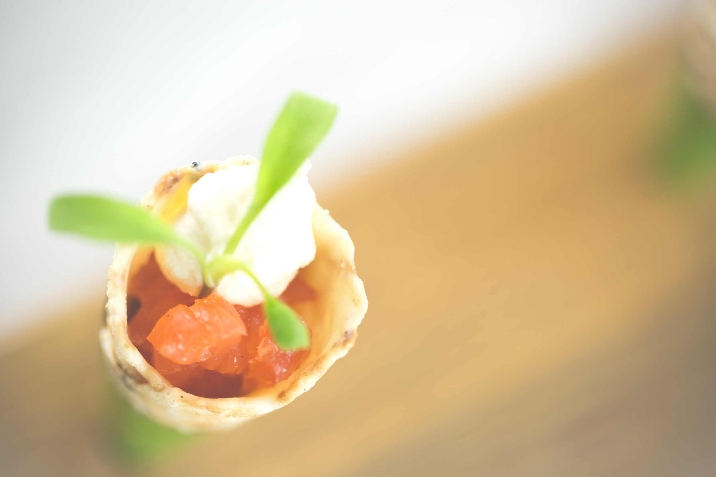 Salmon and creme fraiche cones