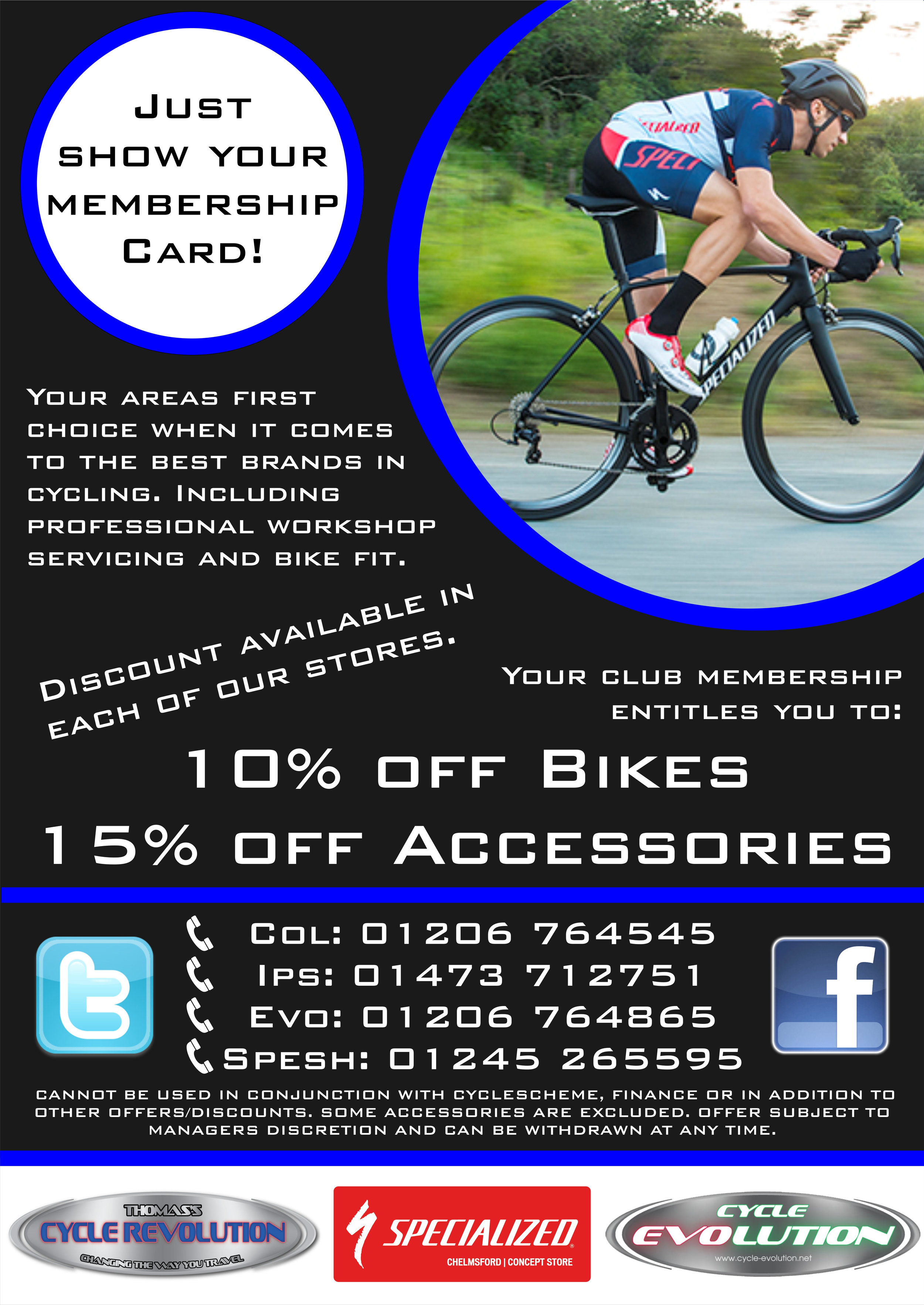 Don't forget to take along your membership card - 10% Discount.