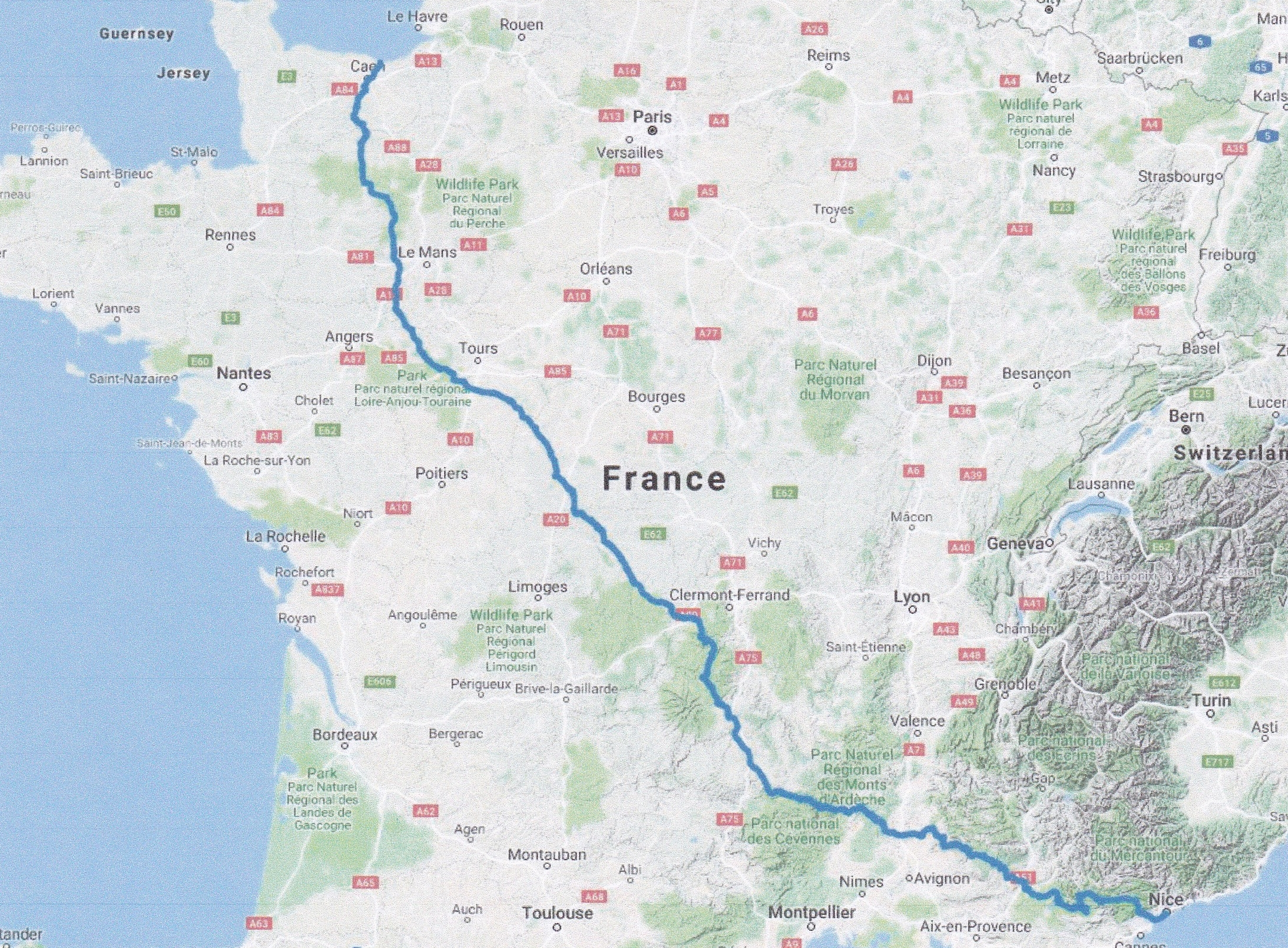 - The route across France
