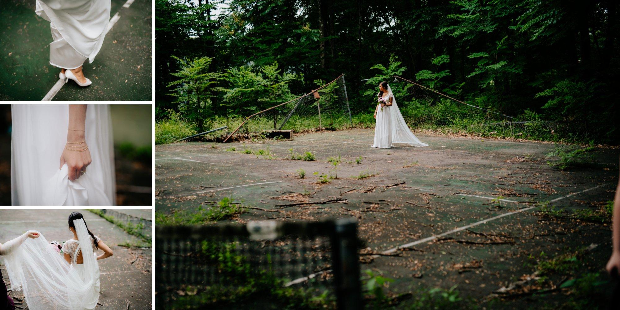 Philadelphia New Jersey Jockey Hollow Wedding Abandoned Athletic Courts Porche Jimmy Choos Tennis Court portrait