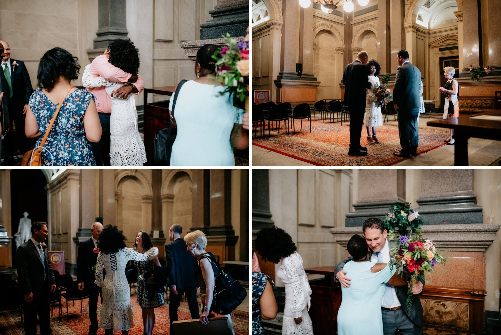 Philadelphia Wedding Elopement Colorful Portraits Zahav Reception  family at ceremony