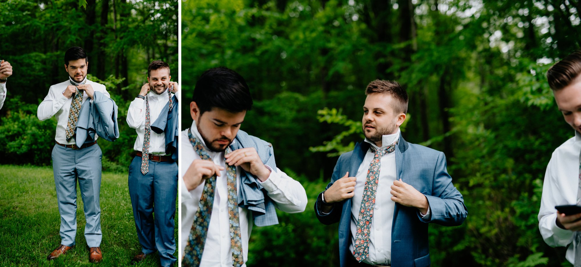Fiddle Lake Farm Philadelphia Pennsylvania Misty Rustic Wedding with Lush Florals Guys prep