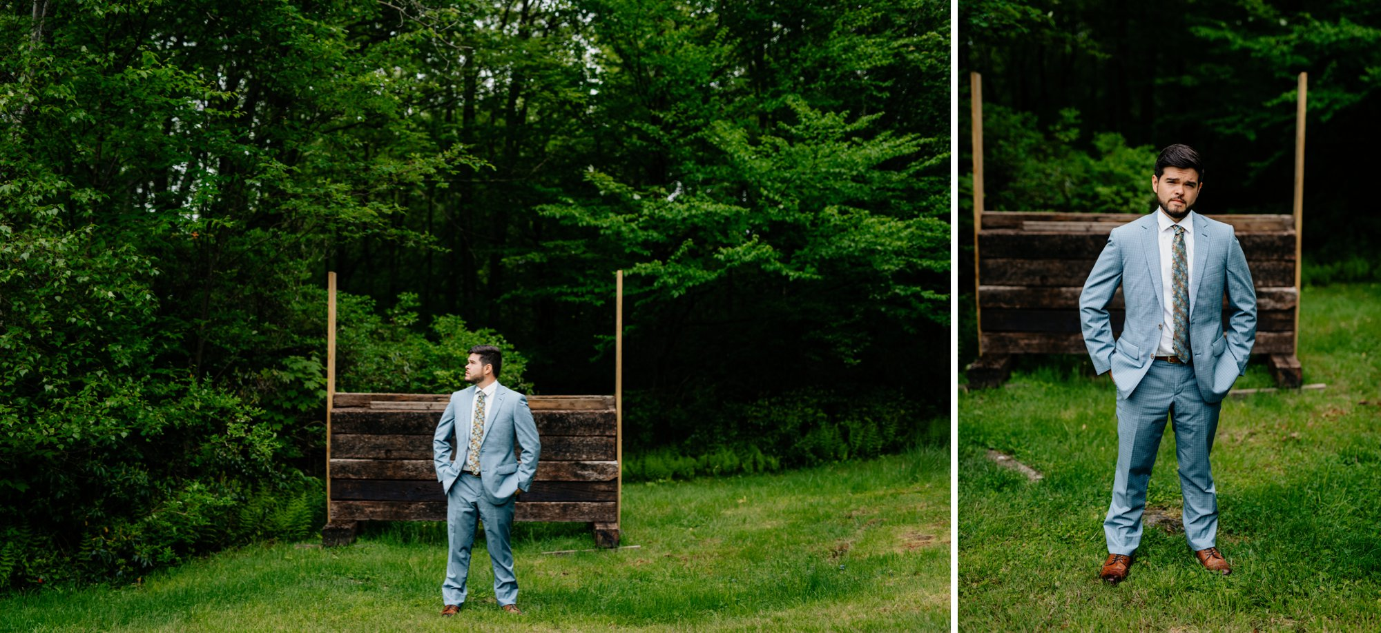 Fiddle Lake Farm Philadelphia Pennsylvania Misty Rustic Wedding with Lush Florals Grooms portrait