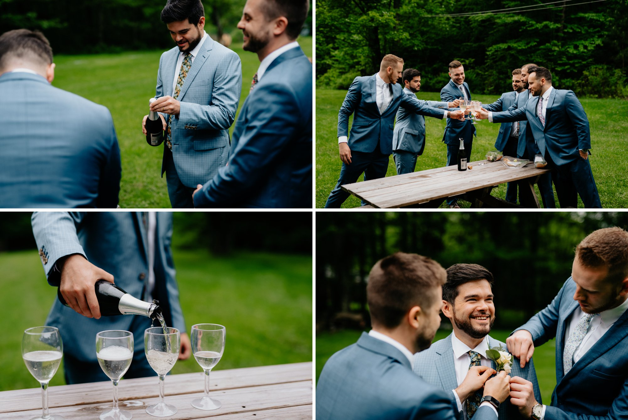 Fiddle Lake Farm Philadelphia Pennsylvania Misty Rustic Wedding with Lush Florals Groomsmen toast