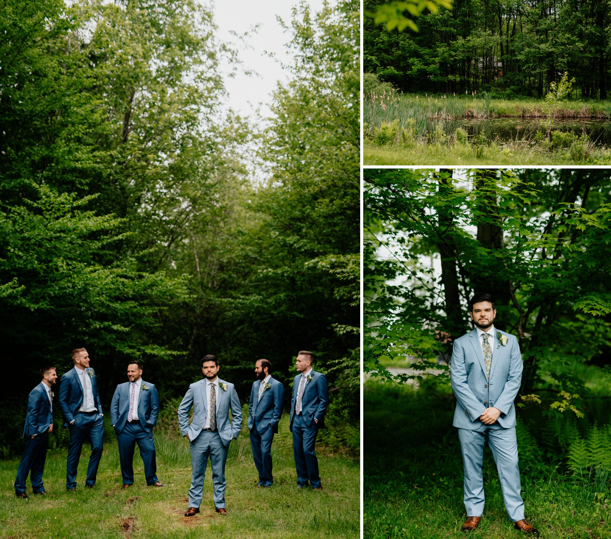 Fiddle Lake Farm Philadelphia Pennsylvania Misty Rustic Wedding with Lush Florals Guys portraits