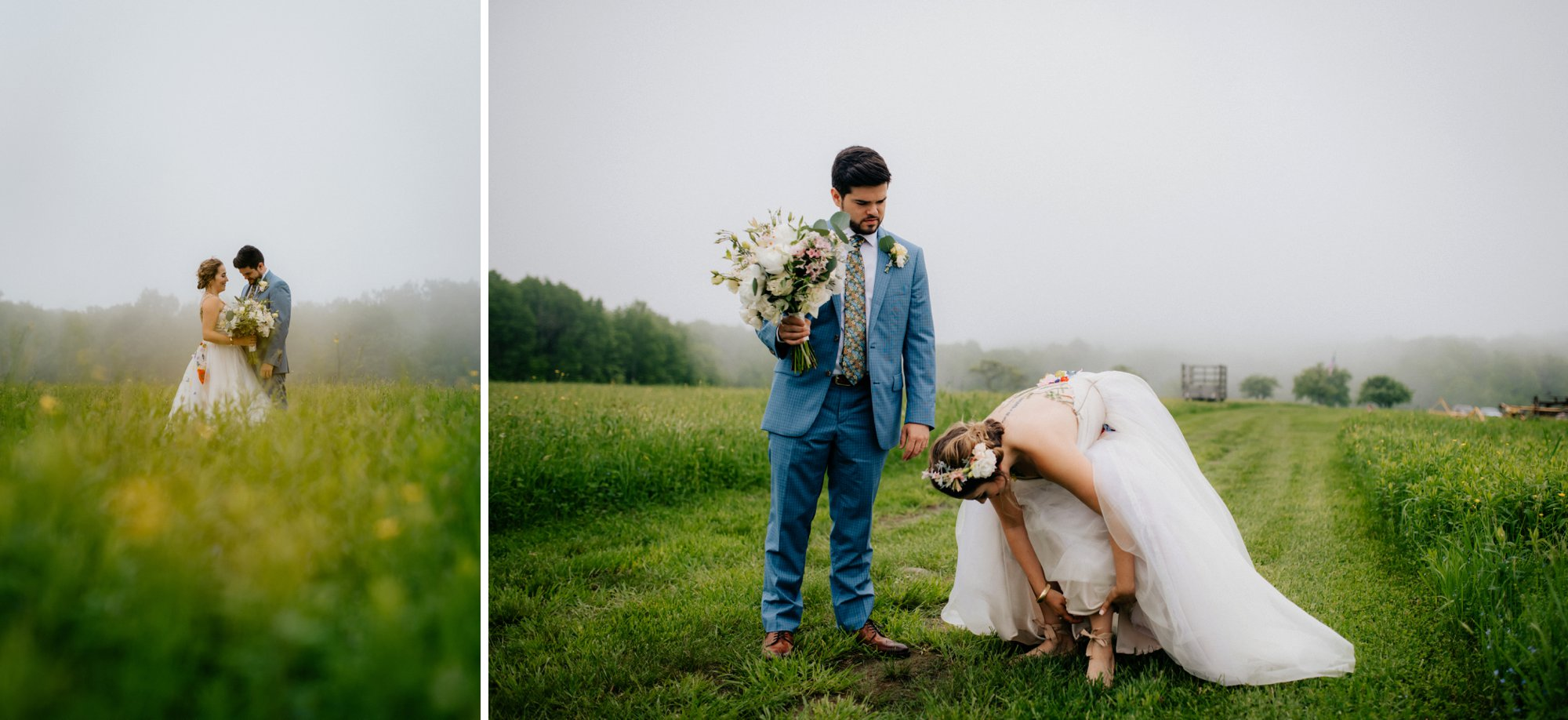 Fiddle Lake Farm Philadelphia Pennsylvania Misty Rustic Wedding with Lush Florals