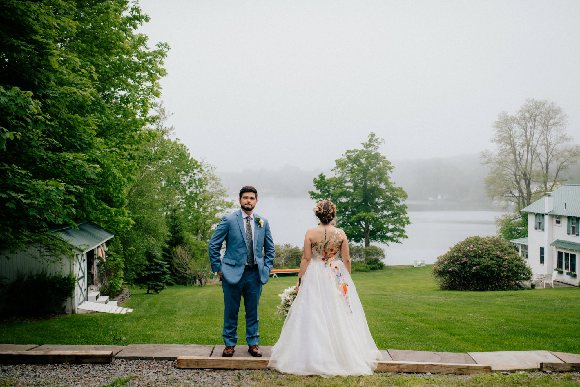Fiddle Lake Farm Philadelphia Pennsylvania Misty Rustic Wedding with Lush Florals Portraits