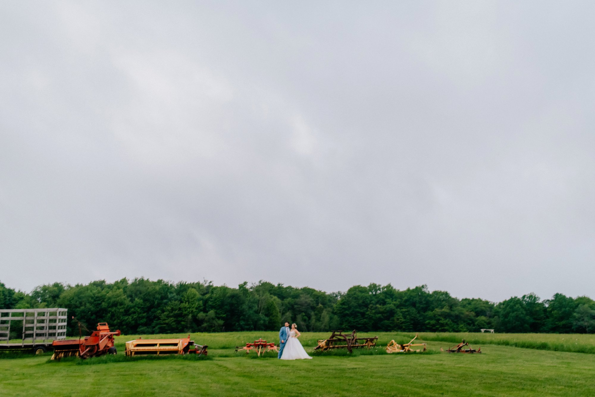 Fiddle Lake Farm Philadelphia Pennsylvania Misty Rustic Wedding with Lush Florals Farm equipment
