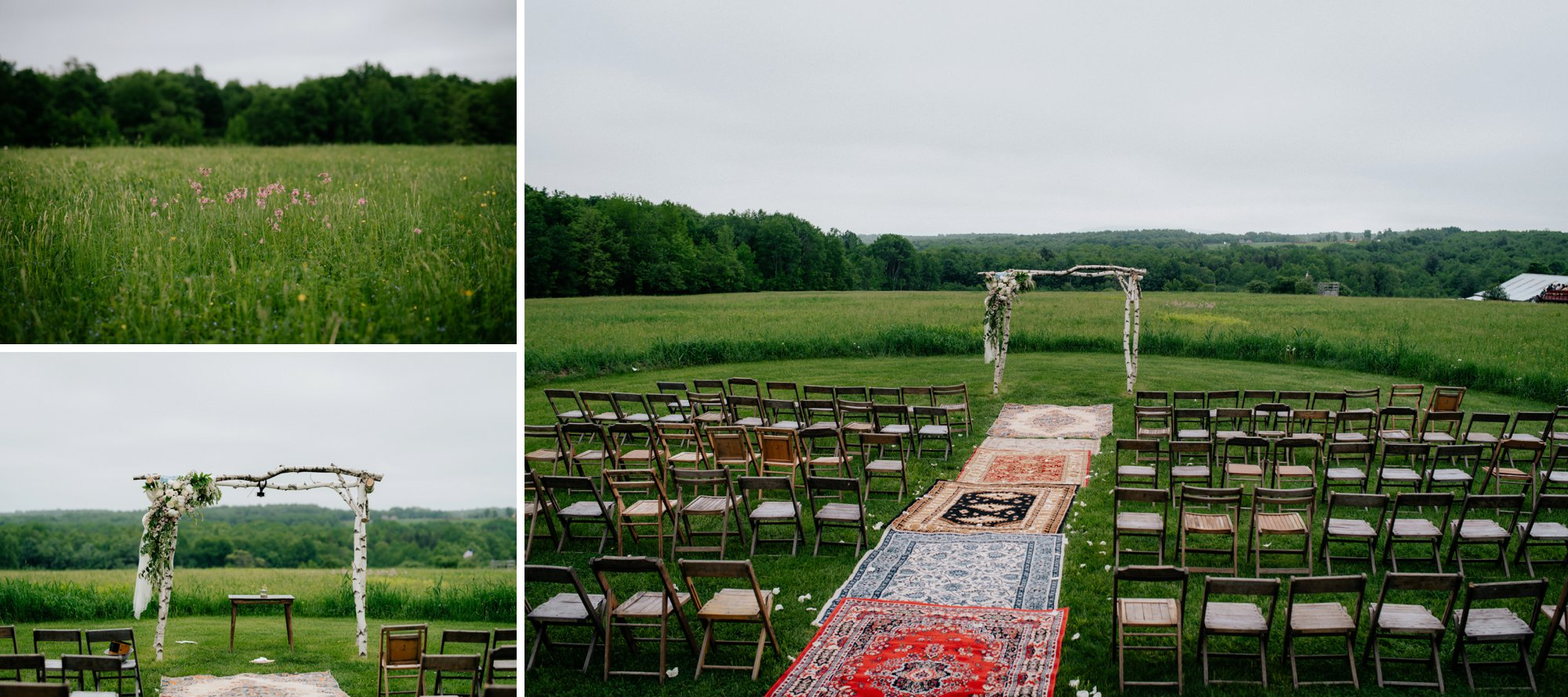 Fiddle Lake Farm Philadelphia Pennsylvania Misty Rustic Wedding with Lush Florals Ceremony Site