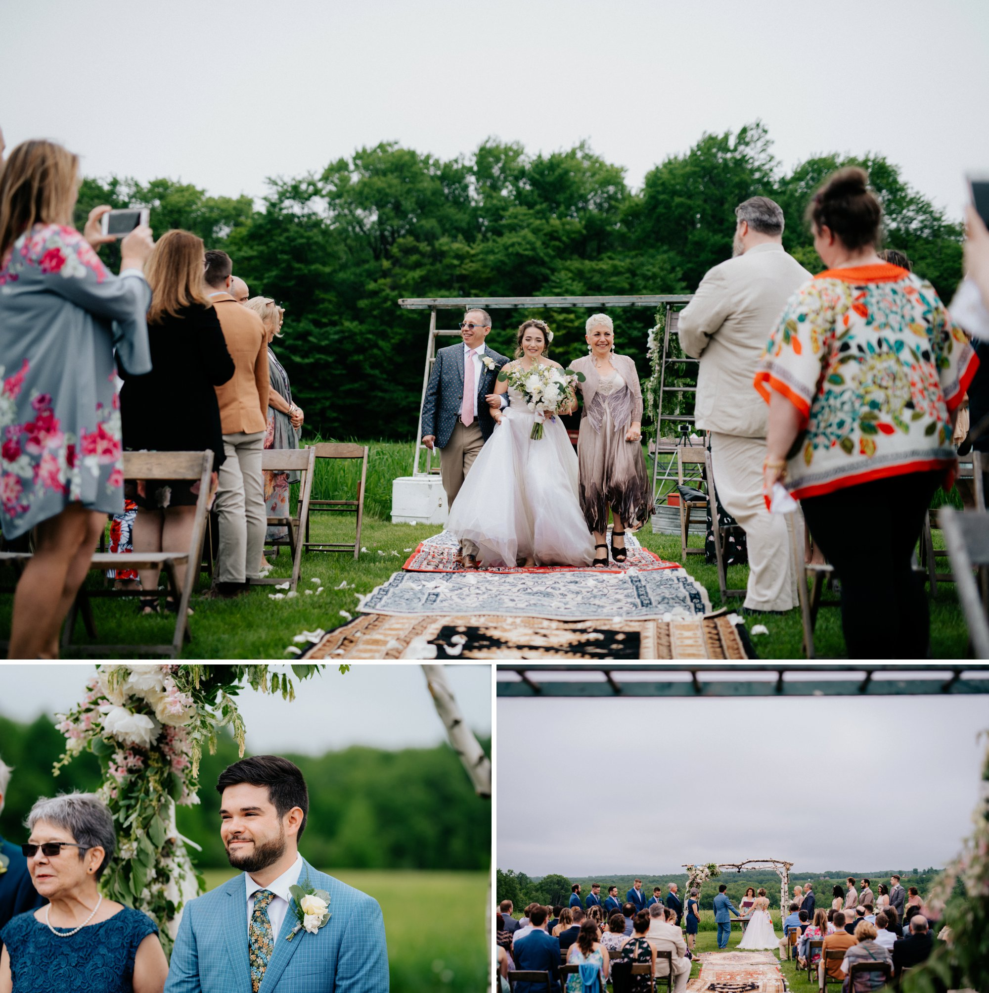 Fiddle Lake Farm Philadelphia Pennsylvania Misty Rustic Wedding with Lush Florals Processional