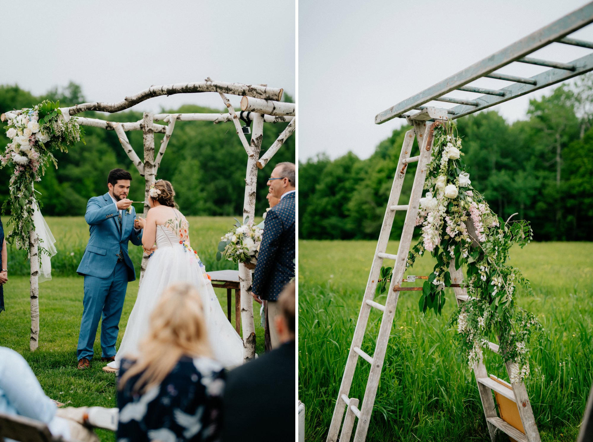 Fiddle Lake Farm Philadelphia Pennsylvania Misty Rustic Wedding with Lush Florals Ceremony